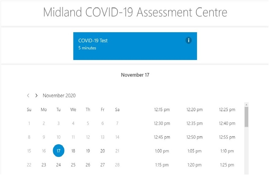 Midland COVID-19 Assessment Centre now offers online appointment booking
