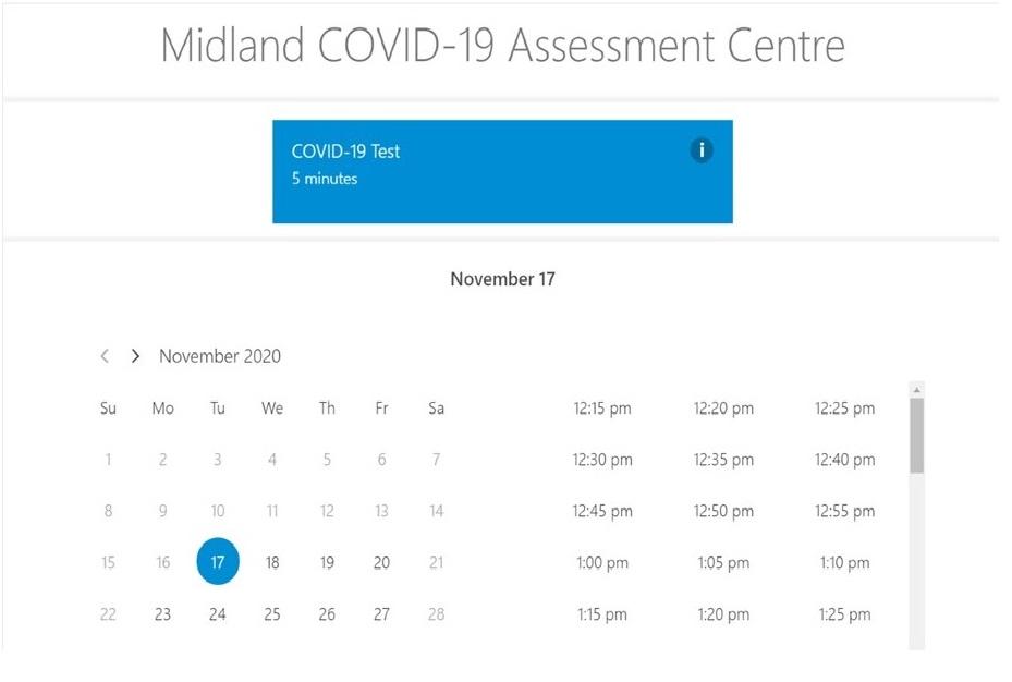 Le Centre d'évaluation COVID-19 de Midland accepte la prise de rendez-vous en ligne